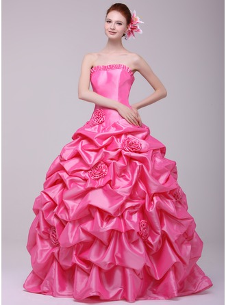 Ball-Gown Sweetheart Floor-Length Taffeta Quinceanera Dress With Ruffle Flower(s)