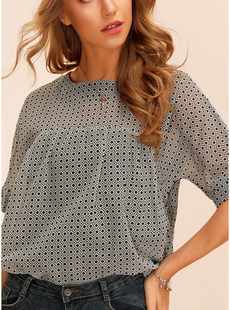 Print Round Neck 1/2 Sleeves Casual