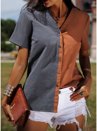 Color Block V-Neck Short Sleeves Button Up Casual Blouses