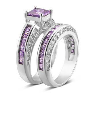 Argent sterling Zircone cubique Halo Coupe Princesse Ensembles nuptiaux Bagues à cocktail -