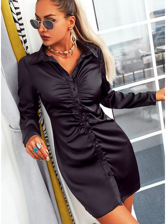 Solid Sheath Long Sleeves Mini Little Black Elegant Shirt Dresses