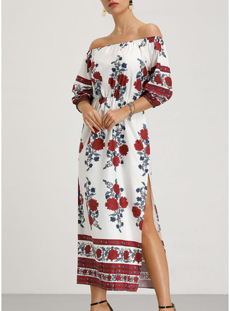 Floral Print Shift 1/2 Sleeves Long Sleeves Maxi Boho Dresses