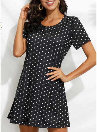 PolkaDot Sheath Short Sleeves Mini Casual Vacation T-shirt Dresses