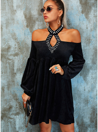 Solid Beaded Shift Lantern Sleeve Long Sleeves Mini Little Black Party Elegant Dresses