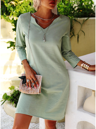Solid Shift 3/4 Sleeves Midi Casual Tunic Dresses