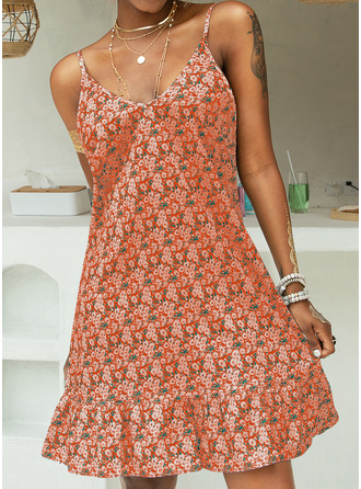 Floral Print Shift Sleeveless Mini Casual Vacation Type Dresses