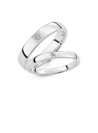 Sterling Silver Cubic Zirconia Round Cut Couple's Rings