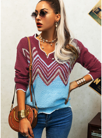 V-Neck Casual Geometric Print Sweaters