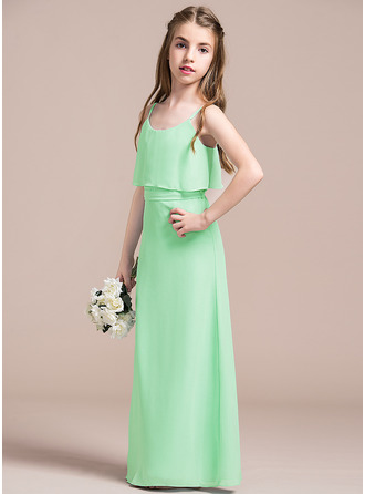 A-Line Scoop Neck Floor-Length Chiffon Junior Bridesmaid Dress With Bow(s)