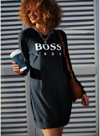 Print Shift Long Sleeves Mini Casual Sweatshirt Dresses