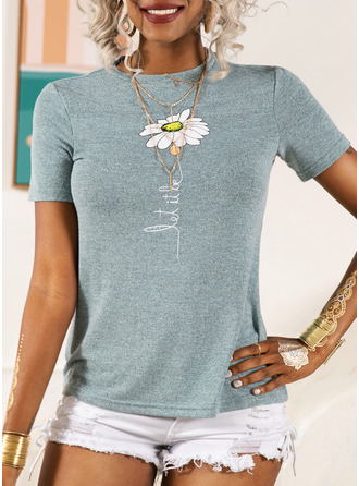 Print Floral Short Sleeves Cotton Round Neck T-shirt Blouses