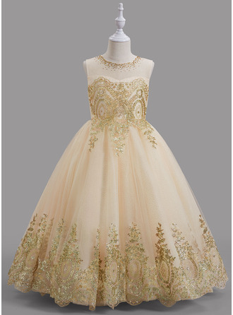 Ball-Gown/Princess Scoop Neck Floor-length With Beading Tulle Flower Girl Dress