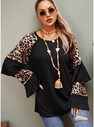 Leopard Round Neck Long Sleeves Casual Blouses (1003255578)