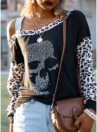 Leopard Sequins One Shoulder Long Sleeves Casual Blouses