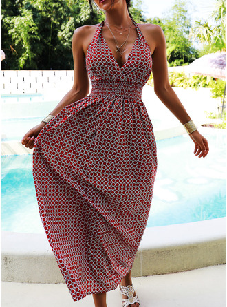 Geometric Print Sheath Sleeveless Maxi Casual Vacation Dresses