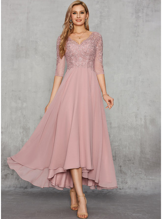 A-Line V-neck Ankle-Length Chiffon Evening Dress With Sequins