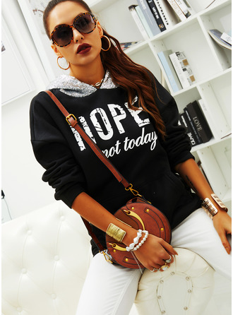 Print Sequins Figure Long Sleeves Hoodie
