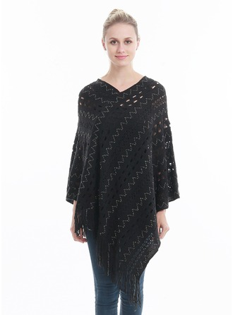 Hollow Oversized/fashion/simple Artificial Wool Poncho