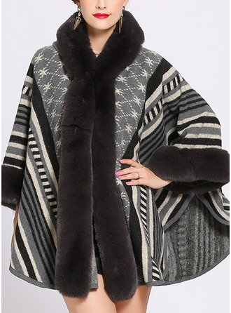 Striped Cold weather Artificial Wool Poncho