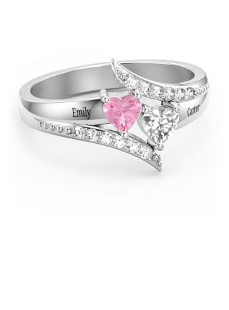 Sterling Silver Cubic Zirconia Brithstone Dainty Exquisite Heart Cut Promise Rings Custom Rings -