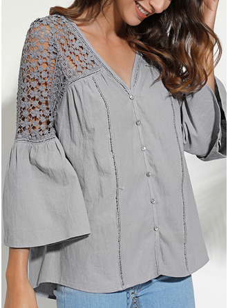 Lace Solid V-Neck 3/4 Sleeves Flare Sleeve Button Up Casual
