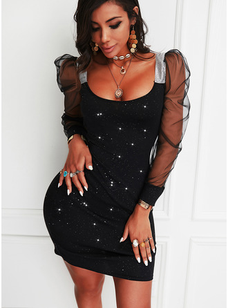 Sequins Solid Bodycon Long Sleeves Puff Sleeves Mini Little Black Party Dresses