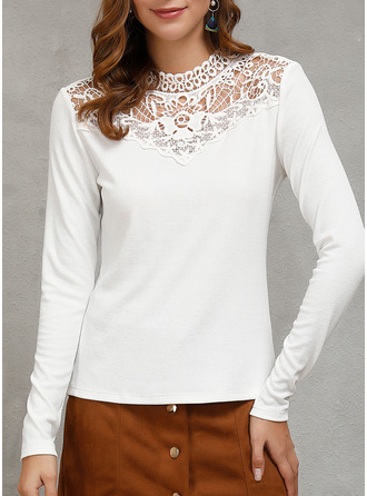 Lace Solid Round Neck Long Sleeves Casual Sexy