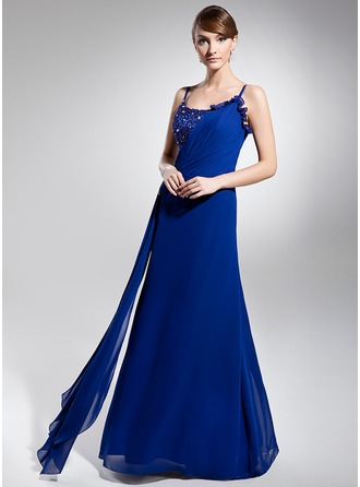 A-Line/Princess Scoop Neck Floor-Length Chiffon Holiday Dress With Ruffle Beading