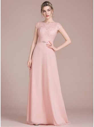 915ccd6e42 A-Line Princess Scoop Neck Floor-Length Chiffon Lace Bridesmaid Dress With  Beading