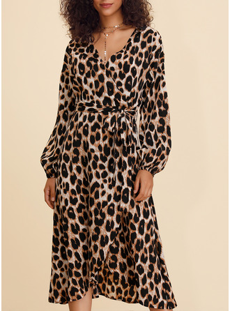 Leopard A-line Long Sleeves Midi Casual Skater Wrap Dresses