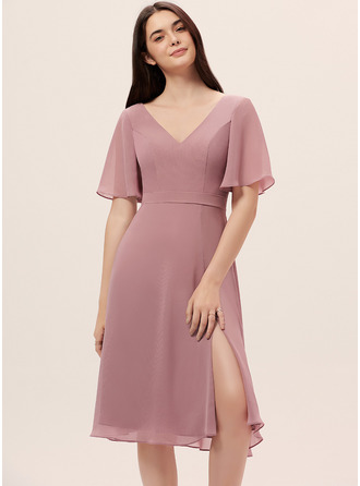 A-line Short Sleeves Midi Romantic Sexy Dresses