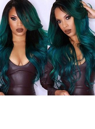 Long FashionTurquoise Ombre Synthetic Fluffy Curly Cosplay Wig For Women