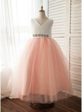 A-Line/Princess Floor-length Flower Girl Dress - Satin/Tulle Sleeveless V-neck With Bow(s)/Rhinestone