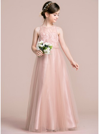 A-Line/Princess Scoop Neck Floor-Length Tulle Junior Bridesmaid Dress