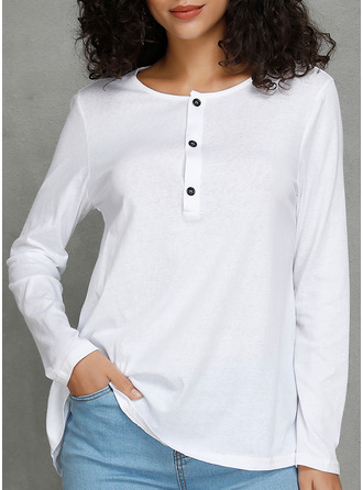 Solid V-Neck Long Sleeves Button Up Blouses