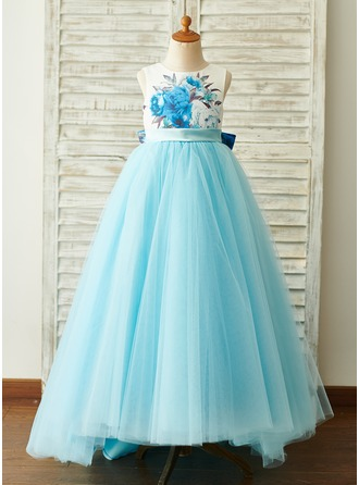 A-Line Asymmetrical Flower Girl Dress - Satin/Tulle Sleeveless Scoop Neck With Bow(s)
