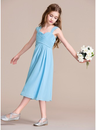 A-Line/Princess Sweetheart Tea-Length Chiffon Junior Bridesmaid Dress With Ruffle