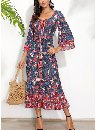 Floral Print A-line 3/4 Sleeves Maxi Casual Vacation Dresses