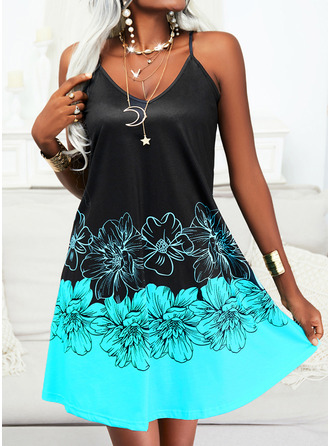 Color Block Floral Print Shift Sleeveless Mini Casual Vacation Type Dresses