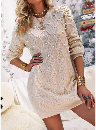 Crew Neck Casual Beaded Solid Sweaters