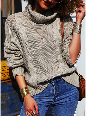 Turtleneck Casual Solid Cable-knit Chunky knit Sweaters (1002254371)