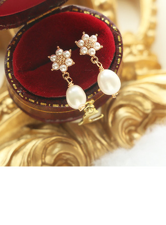 Ladies' Beautiful Gold Plated/Brass With Round Pearl Earrings For Bridesmaid/For Mother