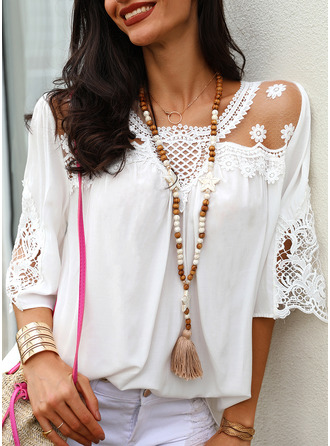 Lace Solid Round Neck 3/4 Sleeves Casual Elegant