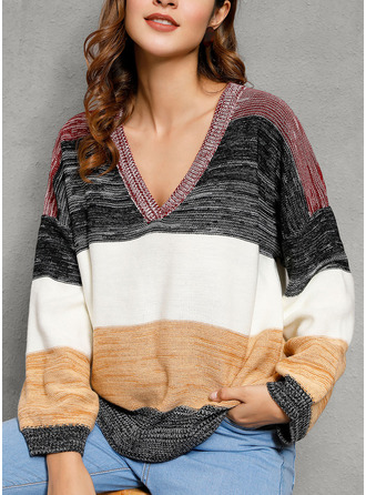 V-Neck Casual Color Block Ribbed Sweaters