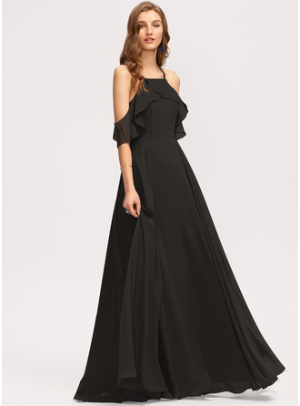 A-Line Square Neckline Floor-Length Chiffon Evening Dress