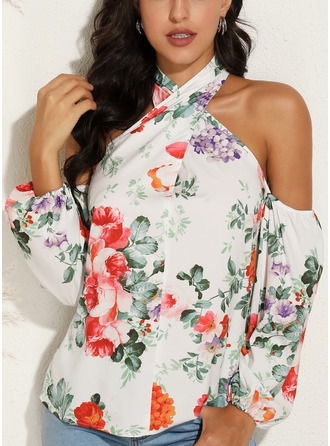 Floral Print Cold Shoulder Long Sleeves Sexy