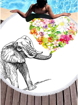 Floral/Elephant round/attractive Beach towel