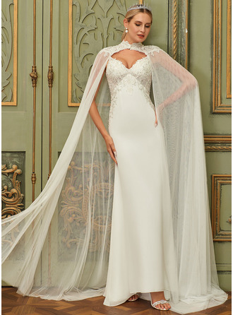 Trumpet/Mermaid V-neck Sweep Train Chiffon Lace Wedding Dress With Sequins