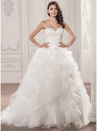 Ball-Gown Sweetheart Court Train Organza Lace Wedding Dress With Beading Sequins Cascading Ruffles