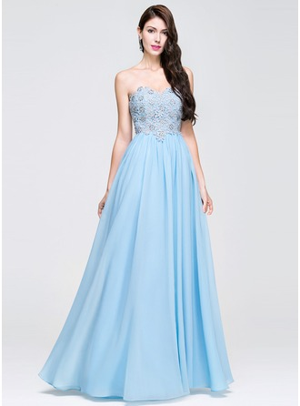 A-Line/Princess Sweetheart Floor-Length Chiffon Prom Dresses With Beading Appliques Lace
